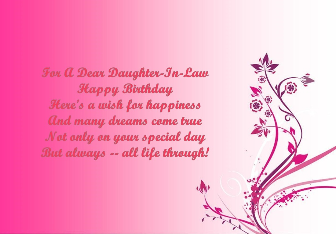 DaughterInLaw Birthday Verses Card Verses Greetings And Wishes – Happy Birthday Daughter in Law Cards