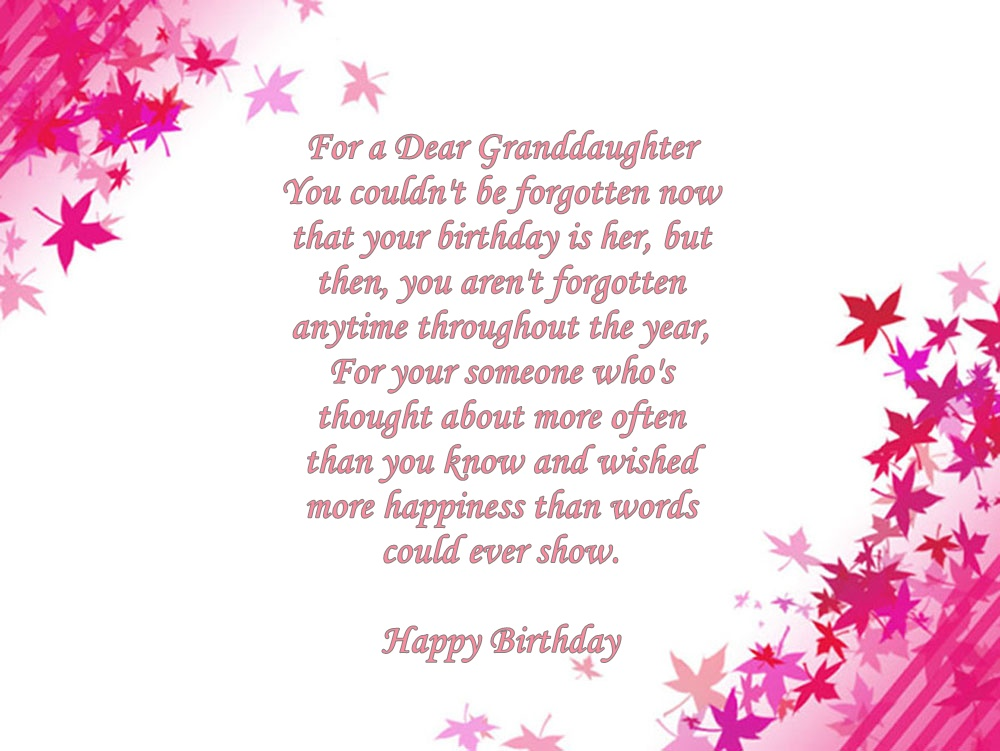 Granddaughter Birthday Verses Card Verses Greetings And Wishes