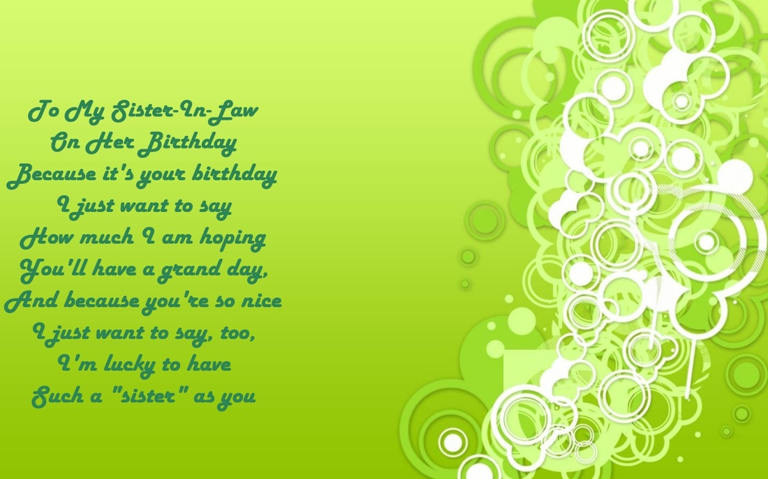 Sister in law birthday verses card verses greetings and wishes green background sister in law verse m4hsunfo